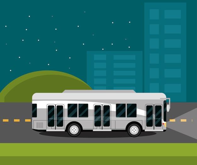 Городской пейзаж ночью с автобусом иллюстрации общественного транспорта
