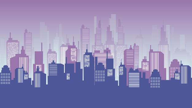 황혼, 시내, 쇼핑몰 및 아파트 건물에서 도시 배경. 벡터 풍경 그림입니다.