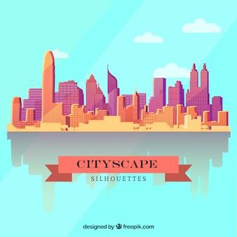 フラットなデザインで都市の景観背景 無料ベクター
