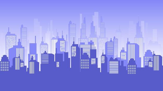 Cityscape borizon at dusk, downtown, mall and apartment building. vector horizon cityscape illustration.
