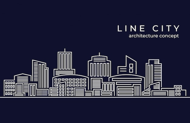 Cityscape building line vector illustration