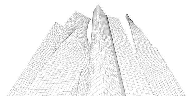 Городской пейзаж, перспектива здания, современное здание на линии горизонта города