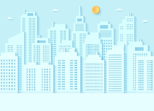 Cityscape, building with blue sky and a bright sun, paper art style