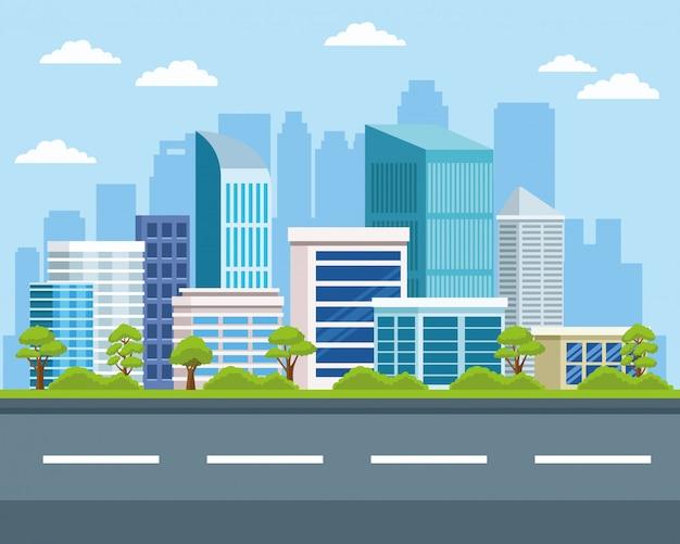 도시 건물과 자연 경관 프리미엄 벡터