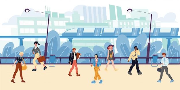 都市の景観、建物、集合住宅、電車、地下鉄、木、街灯、歩く人々。