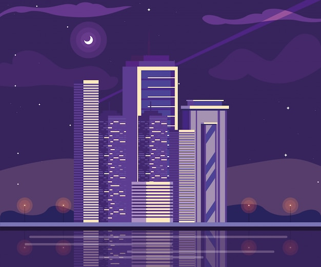 Cityscape buildings with purple sky