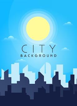 Городской пейзаж городской архитектуры силуэт центра города векторный фон плоский дизайн
