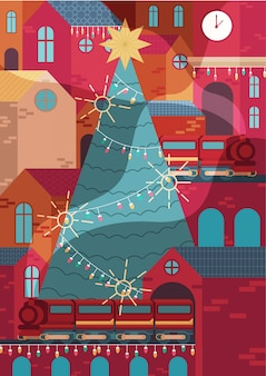 Cityscape, the city decoration in christmas
