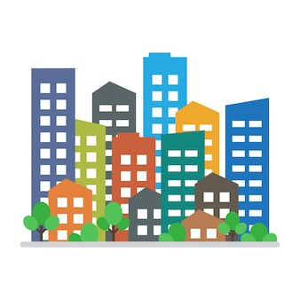 Городской пейзаж. городские современные застройки, микрорайон, городские дома. векторная иллюстрация