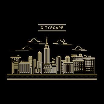 Cityscape design vector line art style