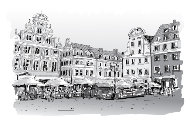 Cityscape drawing sketch in poland downtown  illustration