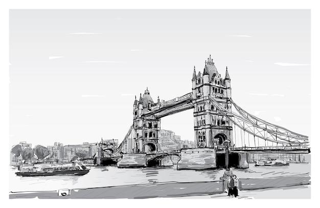 Городской пейзаж рисунок эскиз тауэрский мост, лондон, англия, иллюстрация
