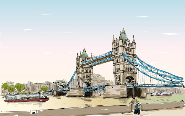 Cityscape drawing sketch tower bridge, london, england, illustration