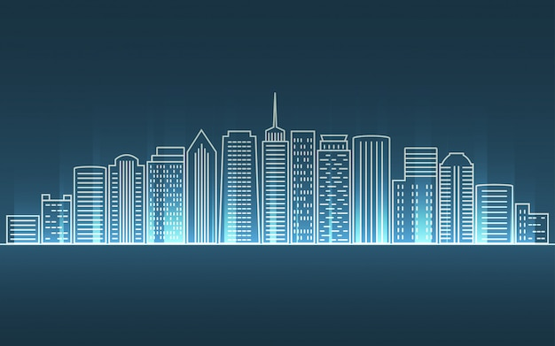 Cityscape in flat lines design with neon light ray