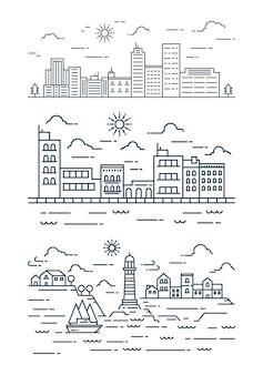 モダンなフラットラインの街並み。細い線の街並みのセットです。図。