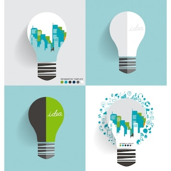 Cityscape infographic template inside a light bulb