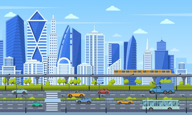 Cityscape infrastructure. modern city architecture cityscape, urban town panoramic view, subway train, traffic city road view  illustration. panoramic street metropolis, realty cityscape