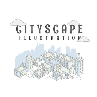 Cityscape isometric. panorama urban modern city landscap. landscape house and street buildings