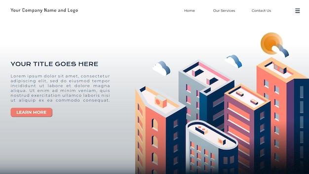 アイソメ図の都市景観ランディングページ