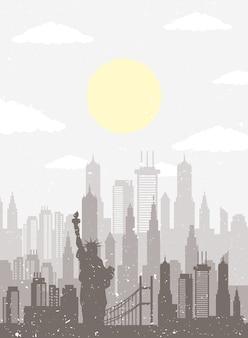 都市の景観ニューヨークのスカイラインシーンアイコン