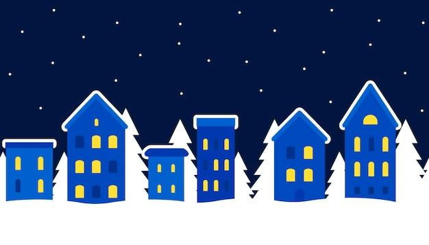Городской пейзаж зимнего города рождественский фон зимний пейзаж маленькие домики и ели