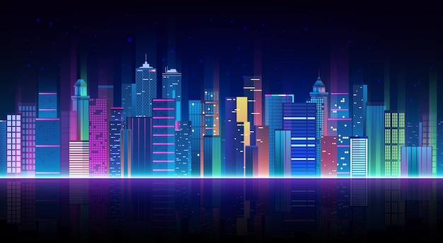 Городской пейзаж на темном фоне с ярким и светящимся неоном