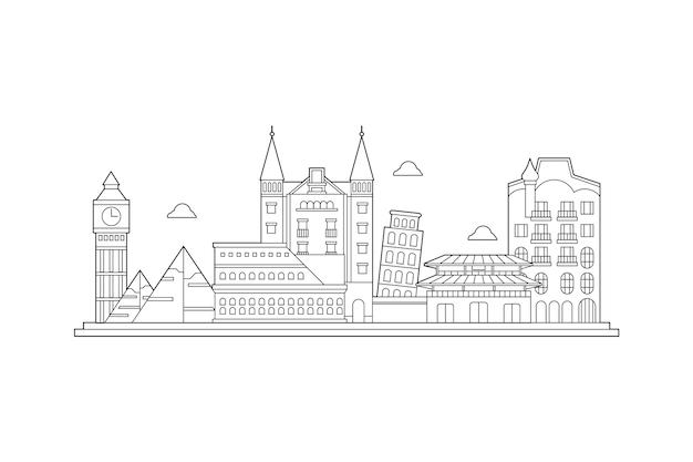 Cityscape outline landmarks skyline