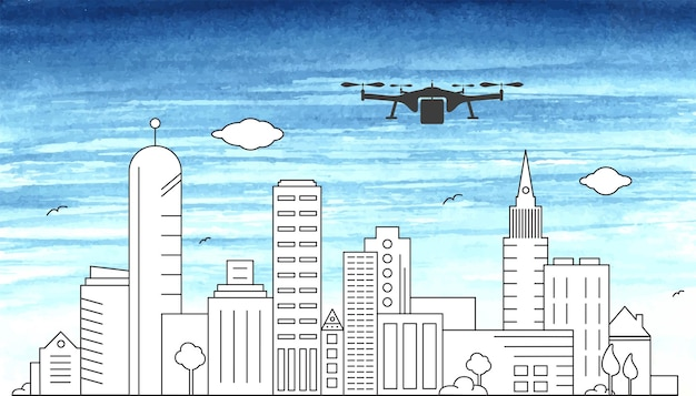 Cityscape outline vector drawing illustration with drone and urban skyline panorama