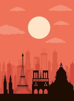街並みパリのスカイラインシーンアイコン