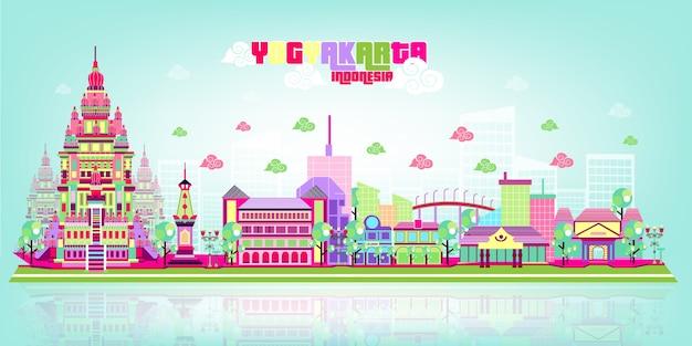 Йогьякарта cityscape popart color