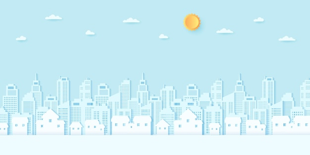 Cityscape, residential, house, buildings with blue sky and sun, paper art style