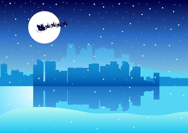 Cityscape santa claus