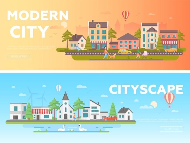 Городской пейзаж - набор современных плоских векторных иллюстраций с местом для текста. два варианта городских пейзажей со зданиями, людьми, горами, холмами, церковью, скамейками, фонарями, деревьями.