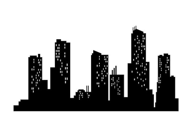 Силуэт городского пейзажа. монохромный панорамный вид. современный городской пейзаж. горизонтальный городской ночной город. силуэт здания города.