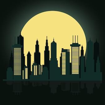 Городской горизонт в ночной сцене с полной луной