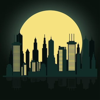 Cityscape skyline at night scene with fullmoon Premium Vector