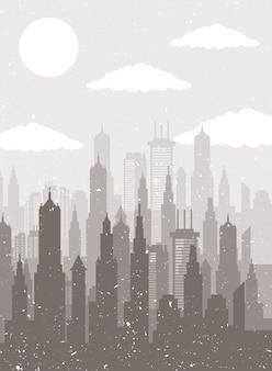 Городской пейзаж горизонт сцены бежевый силуэт