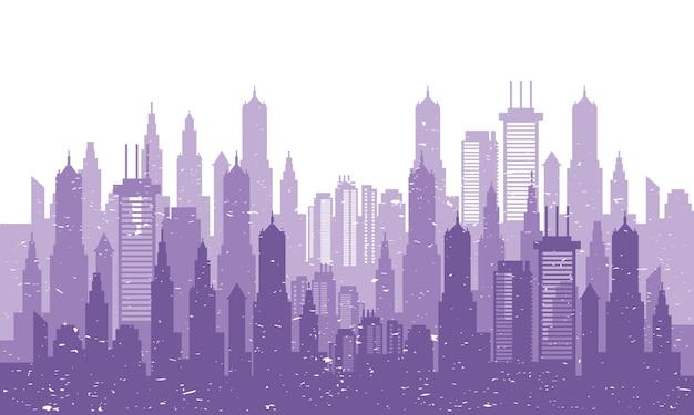 Городской пейзаж горизонт сцены фиолетовый силуэт