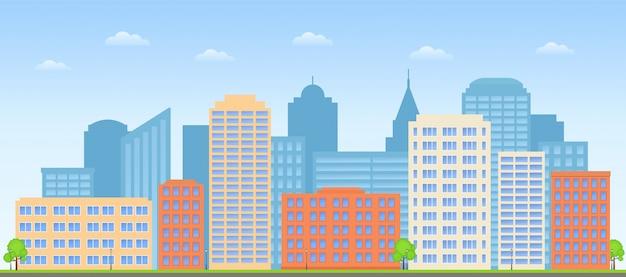 都市の景観、通りのスカイライン、建物の街の背景、