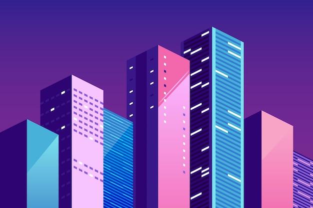都市の景観テンプレート。色の建物と都市景観。都市生活、社会的コミュニケーション、概念についてのウェブサイトのベクトル水平イラスト。