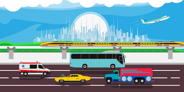 Cityscape traffic urban illustration  background. modern street car downtown skyline landscape cartoon. flat scene panorama banner. art metropolis highway