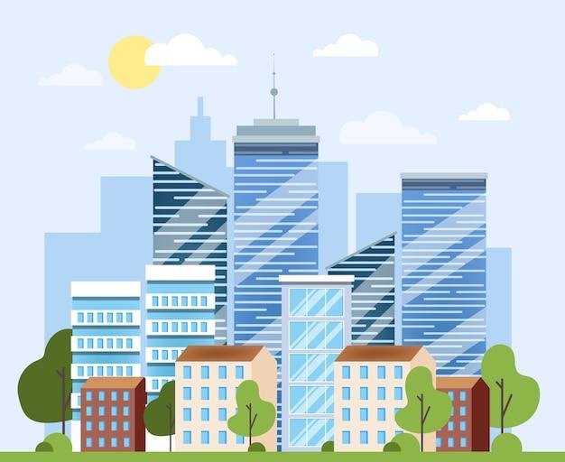 都市の景観、都市建築。ビジネスビルと超高層ビル