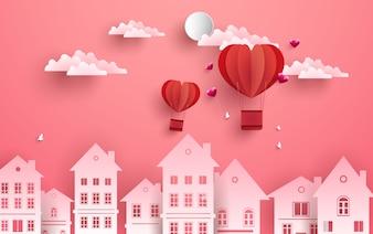 Cityscape valentine background