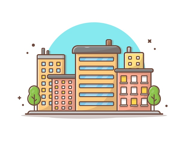 Cityscape vector icon illustration. beautiful town, buildings and landmarks icon concept