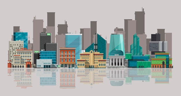 Cityscape vector illustration. urban landscape with large modern buildings
