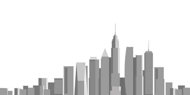Cityscape on white background, building perspective, modern building in the city skyline, city silhouette, business center, vector illustration in flat design.