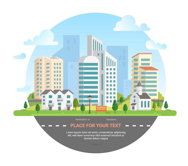 텍스트를 위한 장소가 있는 도시 풍경 - 라운드 프레임의 현대적인 벡터 일러스트레이션. 도로, 자동차, 교회, 랜턴, 벤치, 작은 저층 건물, 고층 빌딩, 나무, 구름이 있는 아름다운 도시 스카이라인