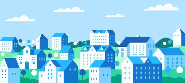 建物のイラストと都市の景観
