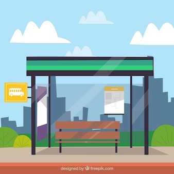 Cityscape with bus stop