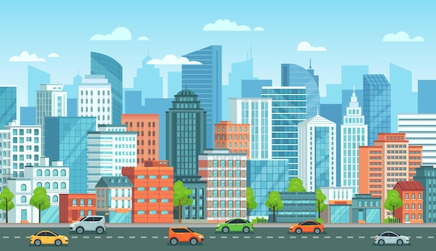Городской пейзаж с автомобилями. улица города с дорогой, городскими зданиями и иллюстрацией шаржа городского автомобиля.